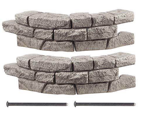 RTS Home Accents Rock Lock Interlocking Border System Curved Section With Spikes, 30-Inch Long, 2-Pack