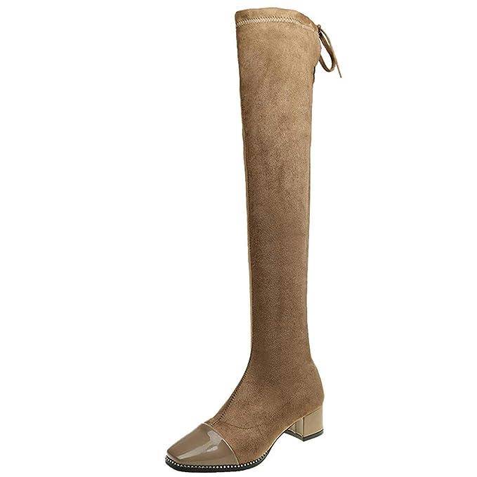 d366af8e9 POLP Botas Altas Mujer Botas Altas de cuña Mujer Marrones Negras Botas para  Vestir Zapatos Mujer