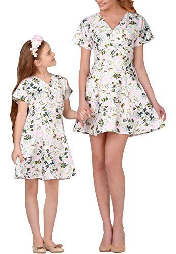 OMZIN Mommy and Me Floral Print Dress Beach Party Sundress Light Pink Mom L -