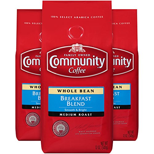 Community Coffee Premium Whole Bean Coffee, Breakfast Blend, Medium Roast, 12 oz., (Pack of 3) (Bean Select Whole)