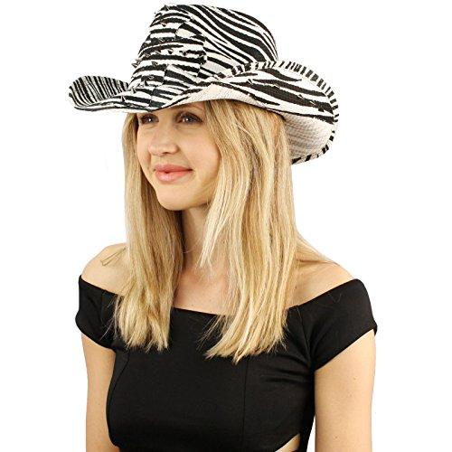 Studded Zebra - SK Hat shop Unisex Studded Spikes Cross Zebra Print Cowboy Western Sun Hat M/L 58cm Zebra