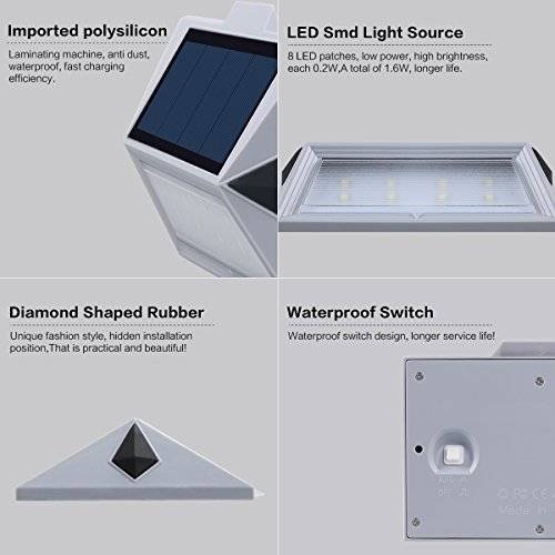【Newest Version 8 LED】Solar Stair Step Lights Outdoor Decorative Solar Deck  Lights Wireless Waterproof Lighting ...