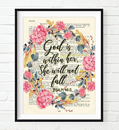 Vintage Bible Page Verse Scripture - God Is Within Her, She Will Not Fall - Psalm 46:5 Art Print, Unframed, Floral Christian Wall and Home Decor, All Sizes