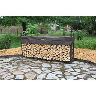 The Woodhaven 8 Foot Brown Firewood Log Rack with Cover