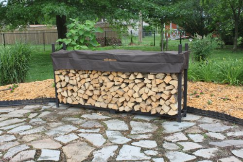 The Woodhaven 8 Foot Brown Firewood Log Rack with Cover by The Woodhaven