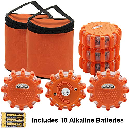 - Twinkle Star 6 Pack LED Road Flares Flashing Warning Lights Roadside Safety Emergency Disc Beacon for Car, Marine Boat