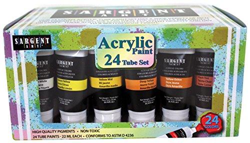 Sargent Art 23-0524 24 Acrylic Tube Paint Set, 22ml Tubes, 24 Colors