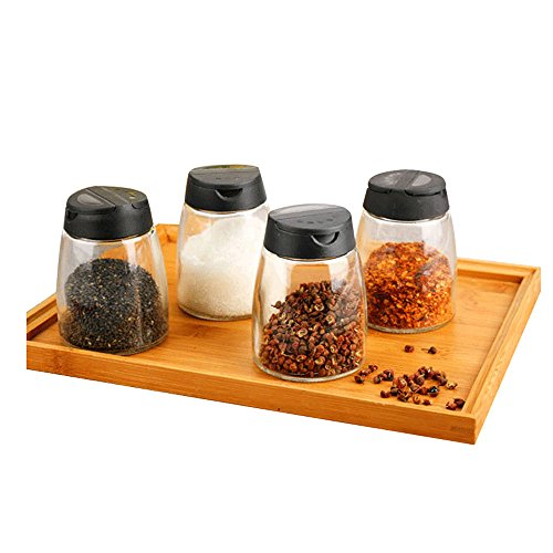 (Barbecue Spice Shake Bottle Kitchen Glass Seasoning Sauce Salted Salt Set 4 Pack (Color : Black))