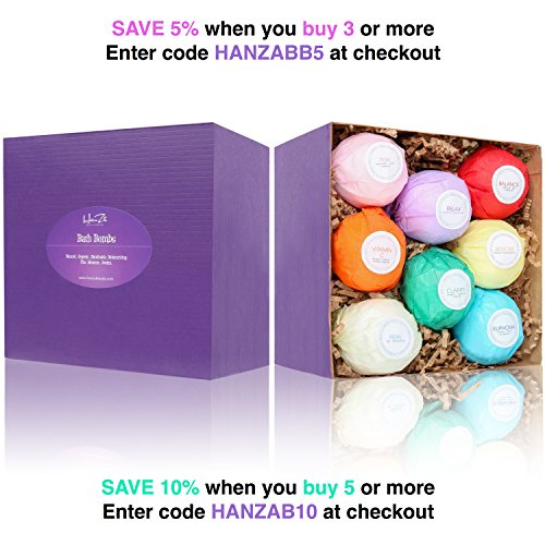 HanZá 8 Bath Bombs Gift Set Ideas – Vegan Gifts for Women, Mom, Girls, Teens, Her, Mothers, Wife – Ultra Comforting Spa…
