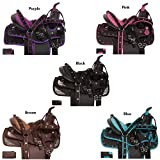 "Acerugs 10"" 12"" 13"" Synthetic Western Youth Kids SEAT Quarter Horse Saddle TACK PAD Headstall REINS Breast Collar Set (Brown, 13)"