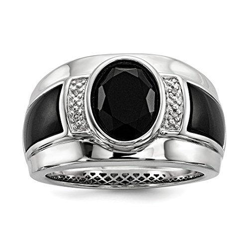 Diamond Cushion Bow Ring Cut (925 Sterling Silver Diamond Black Onyx Mens Band Ring Size 11.00 Man Fine Jewelry Dad Mens Gift Set)