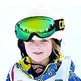 COPOZZ Kids Ski Goggles, G3 Kids Snow Snowboard Goggles - Helmet Compatible Over Glasses OTG Design Non-slip Strap UV Protection Child Children Youth Boys Girls Snowboarding