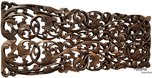 Coastal Tropical Wall Decor Panel. Wood Carved Floral Wall Art in Dark Brown Finish, Size 35.5