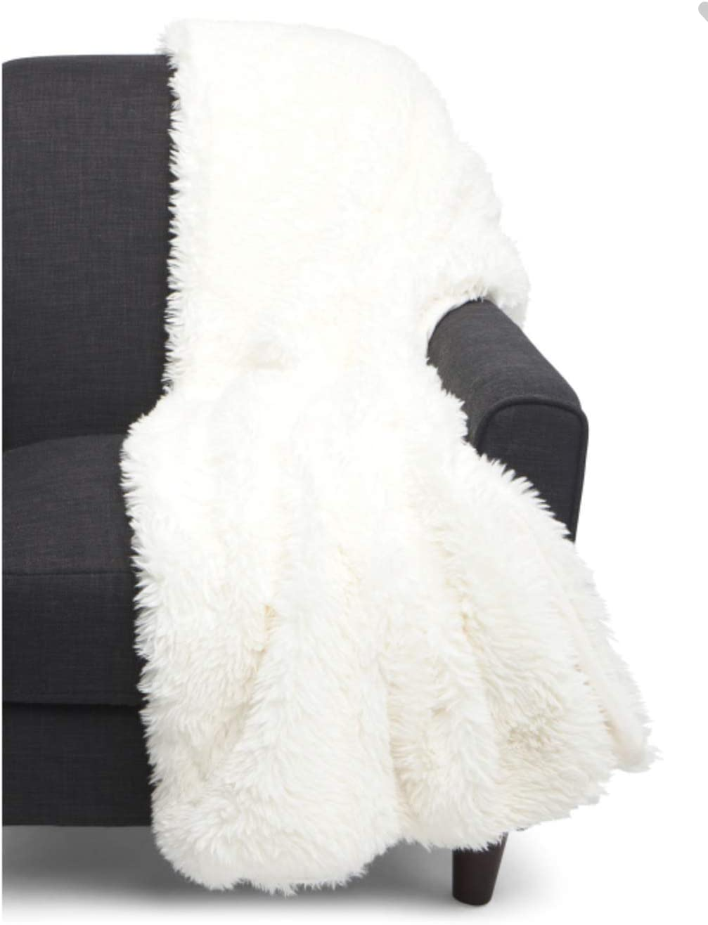 Tahari Home Mink Faux Fur Throw Blanket Shaggy Soft in Ivory
