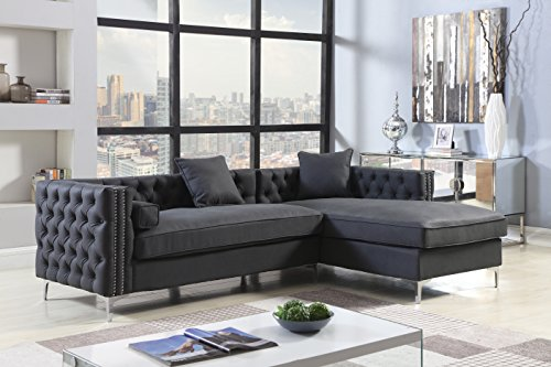 (Iconic Home Da Vinci Right Hand Facing Sectional Sofa L Shape Chaise PU Leather Button Tufted with Silver Nailhead Trim Silvertone Metal Leg with 3 Accent Pillows, Modern Contemporary, Black)