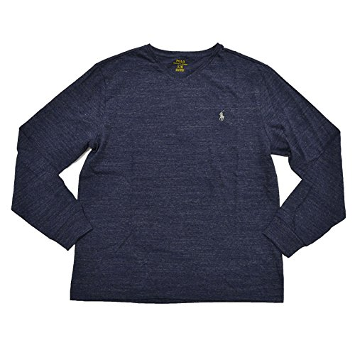 Polo Ralph Lauren Mens Long Sleeve V Neck Tshirt (Large, Gentian ()