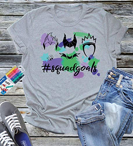 Villain Squad Goals Watercolor Tee Shirt Disney World Vacation Trip Girl Mom Family Birthday Party Gift Ursula Maleficent Evil Queen Magic -