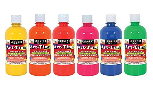 Sargent Art 17-4700 Art-Time 16oz, 6 Colors Washable Fluorescent Tempera (Fluorescent Tempera 16 Oz Paint)