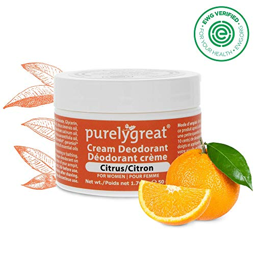 Women's All Natural Deodorant | Aluminum Free Deodorizer | Long Lasting Deodorant Cream | EWG Verified, Vegan, Cruelty-Free, No Aluminum, No Parabens, BPA Free | Essential Oils (Citrus Scent)