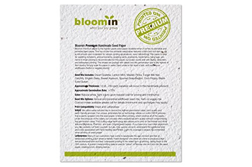 Bloomin Premium 12 pt. Seed Paper for Inkjet Printers - 75-90% Germination Rate - 8.5x11 Sheets (1 Pack- 100 Sheets) by Bloomin (Image #2)