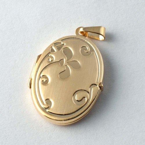 ASS 333or pendentif médaillon ovale Mat/Brillant, gravé, pour ouvrir, 22mm