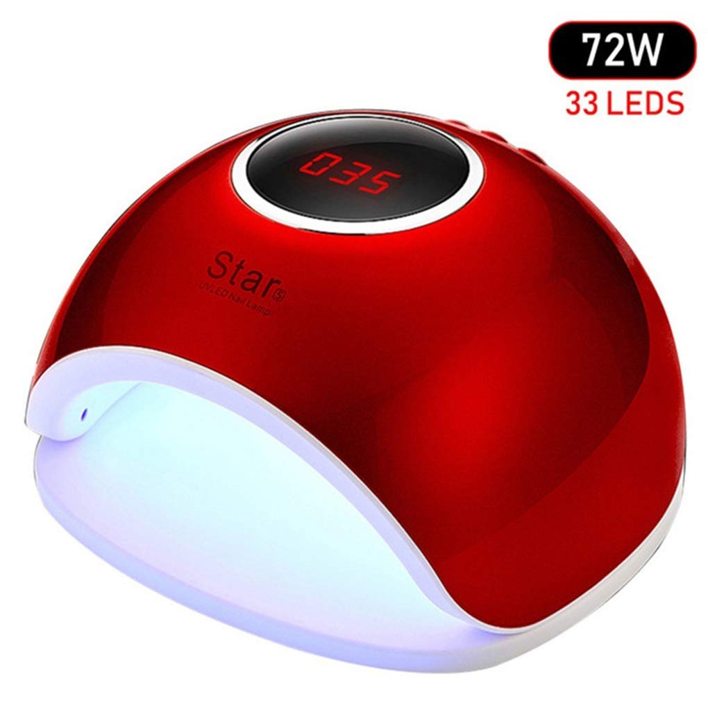 Morelyfish L/ámpara de Esmalte de u/ñas Secador de u/ñas de Gel UV LED Luz 72W M/áquina Inteligente de inducci/ón sin Dolor de Secado r/ápido