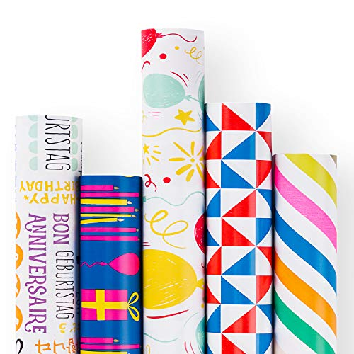 (RUSPEPA Gift Wrapping Paper Roll - Red and Blue Birthday Theme Design for Party, Gift Wrap - 5 Rolls - 30Inch X 10Feet Per Roll)