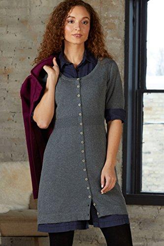 Fair Indigo Fair Trade Cotton/Alpaca Button Front Sweater Dress