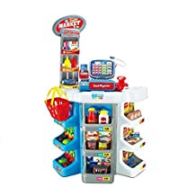 Click to open expanded view Qm-h Pretend Play Simulation Supermarket Checkout Counter Playsets with Lights, Sound and Accessories 2393(L*H*W=22*34.9*12.2Inches)