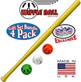 "Wiffle 32"" Bat & Green, Orange & White Baseballs ""Matty's Toy Stop"" Exclusive Gift Set Bundle - 4 Pack"