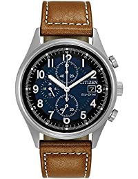 Men's 'Eco-Drive' Quartz Stainless Steel and Leather...