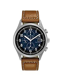 Citizen Chandler Blue Dial Men's Chronograph Leather Watch CA0621-05L