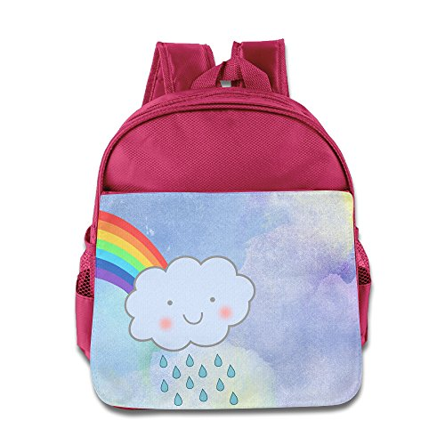 Price comparison product image BADOU Cute Rain Cloud Rainbow Unisex Knapsack School Size Size Key Pink
