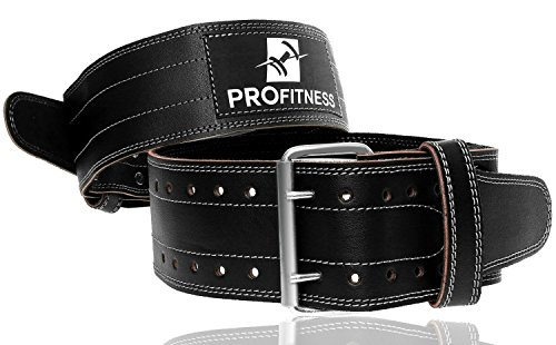 - ProFitness Genuine Leather Workout Belt (4 Inches Wide) - Proper Weight Lifting Form - Lower Back Support for Squats, Deadlifts, (Black/White, X-Large 42