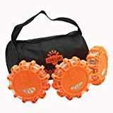 StarFlare LED Road Flares Emergency Disc Safety Light Flashing Roadside Beacon for Car Truck with Storage Bag and Batteries(Pack of 3)