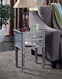 mirrored bedroom furniture Convenience Concepts Gold Coast Collection Mayfair Mirrored End Table, Silver