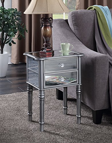 Convenience Concepts Gold Coast Collection Mayfair Mirrored End Table, Silver