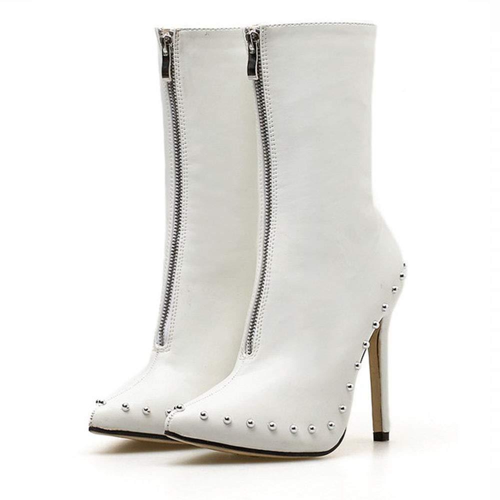Yajiemei Damenstiefel Spitzennieten Feine Super High Heels (Farbe   Weiß Größe   35)