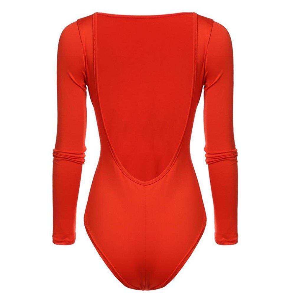 Caeasar Overall Bodysuit Bodysuit R/ückenfrei Langram Damen Stringbody Schwarz Rot S-XL