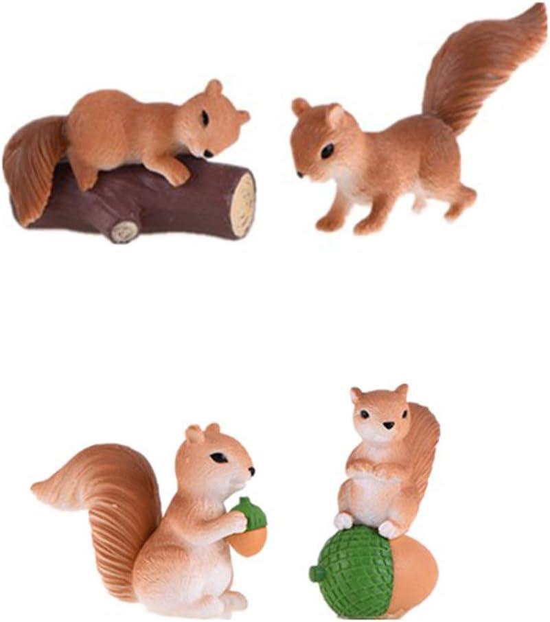 OKOK 4 Pcs Mini Squirrel Animal Figurine, Miniature Garden Ornaments,Fairy Garden Figurines, Squirrel Animal Cake Topper, Plant Pot Craft Dollhouse Bonsai Decoration, Cake Decoration, Landscape Scenes