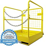 Titan Attachments Forklift Safety Cage Work Platform Collapsible Lift Basket Aerial Rails 36''x36''