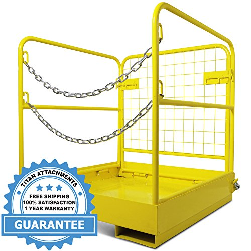 Titan Attachments Forklift Safety Cage Work Platform Collapsible Lift Basket Aerial Rails 36''x36'' by Titan Attachments