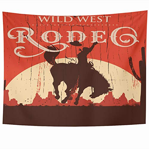 (Ahawoso Tapestry 60x50 Inch Western Rodeo Cowboy Riding Wild Horse On Sports Recreation West Vintage Texas Old Bronco Tapestries Wall Hanging Home Decor for Living Room Bedroom Dorm)