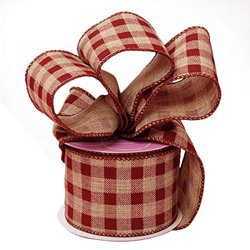 Burgundy Gingham Ribbon Wired Burlap - 2 1/2