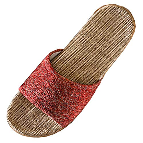 ✔ Hypothesis_X ☎ Womens Flat Sandals Slides Open Toe Slip On Shoes Summer Cotton Linen Slipper Non-Slip Slippers Red ()