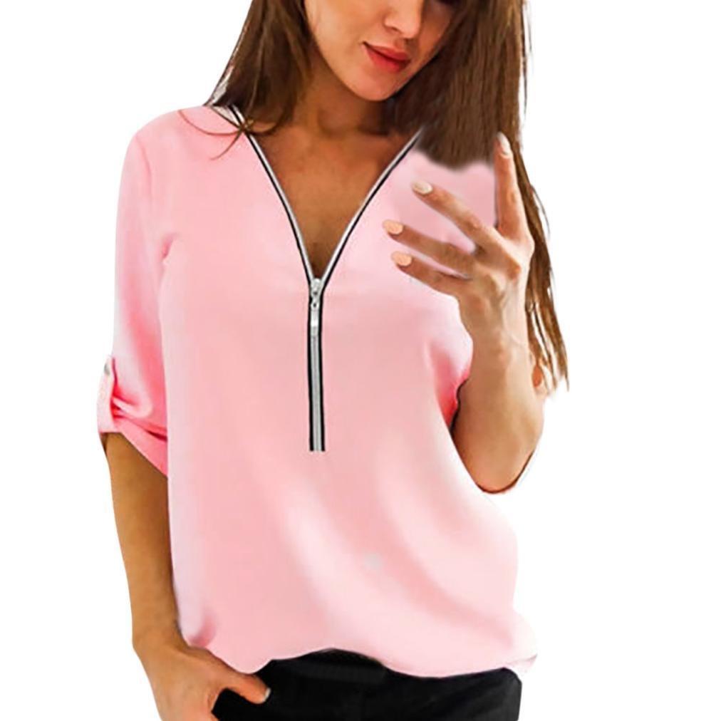 Manga larga, Camiseta con cremallera y manga larga para mujer by Ba Zha Hei - Camisa deportiva - Manga larga - para niña mujer ropa blusa mujer Transpirable ...