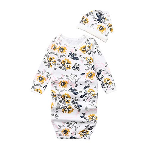 MONsin Baby Sleeping Bag Newborn Infant Baby Boys Girls Floral Print Pajamas Swaddle Sleeping Bag+Hat (3-12M, White) -