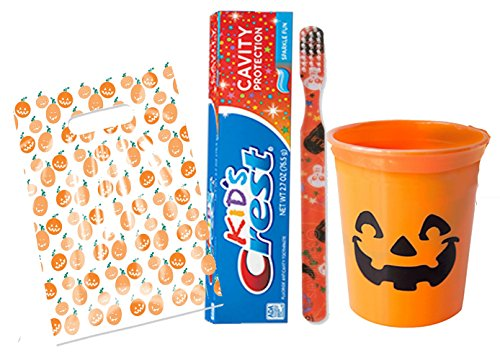 Happy Halloween Inspired Trick Or Treat 3pc Bright Smile Oral Hygiene Set! Soft Manual Toothbrush, Toothpaste & Mouthwash Rinse Cup! Plus Bonus Halloween Trick Or Treat Gift -