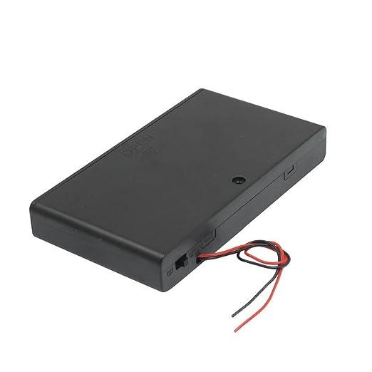 9 opinioni per SODIAL (R) Vano batteria con coperchio a due conduttori ON / OFF Nero 8 x 1,5 V