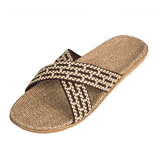 Urban Coco Unisex Cross Braid Cosy Linen Indoor House Pantuflas Café
